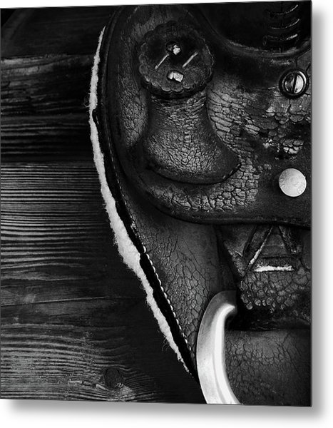 Old Leather - Vintage Saddle In Black And White Metal Print