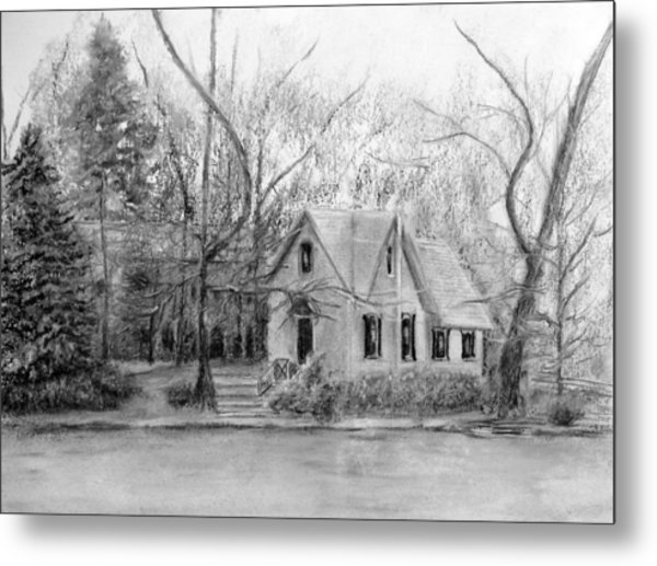 Old Library On Lake Afton - Winter Metal Print