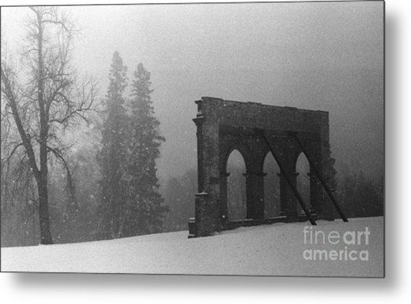 Old Main After The Fire Metal Print