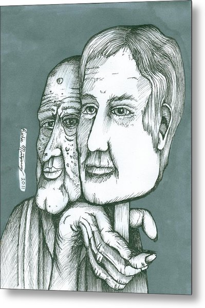 Old Man Behind A Young Mans Face Metal Print