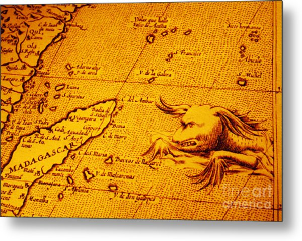 Old Map Of Africa Madagascar With Sea Monster Metal Print