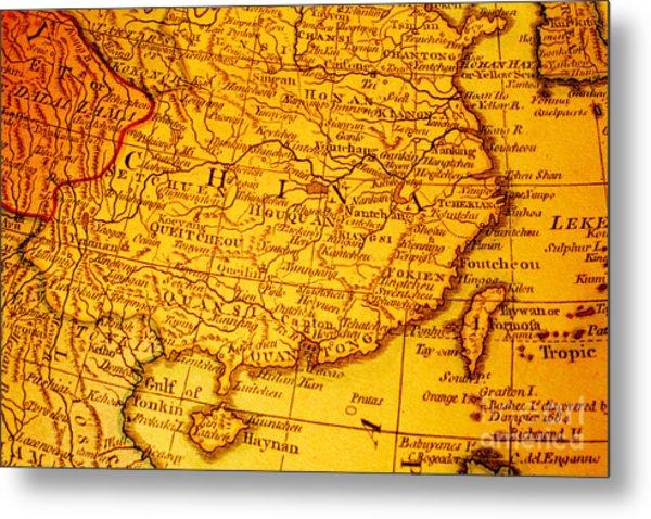 Old Map Of China And Taiwan Metal Print