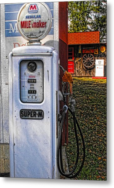 Old Marathon Gas Pump Metal Print