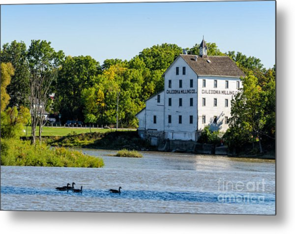 Old Mill On Grand River In Caledonia In Ontario Metal Print