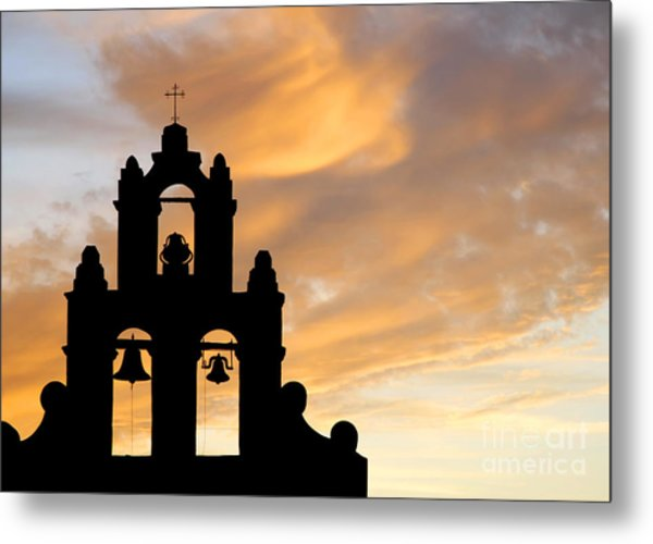 Old Mission Bells Against A Sunset Sky Metal Print