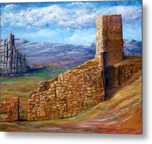 Old Mission Landscape New Mexico Metal Print