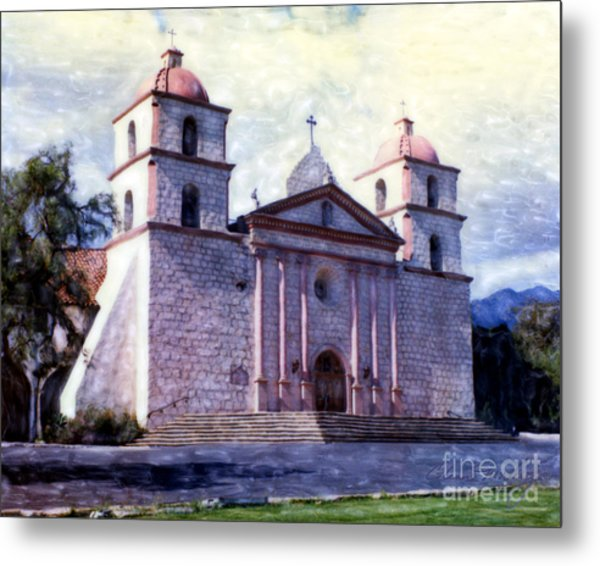 Metal Print featuring the mixed media Old Mission Santa Barbara by Glenn McNary