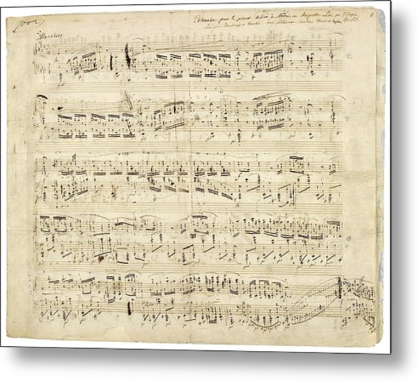 Old Music Notes - Chopin Music Sheet Metal Print