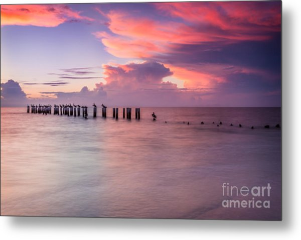 Old Naples Pier Sunset Metal Print
