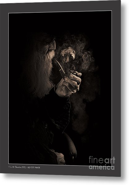 Old Pipe Smoker Metal Print