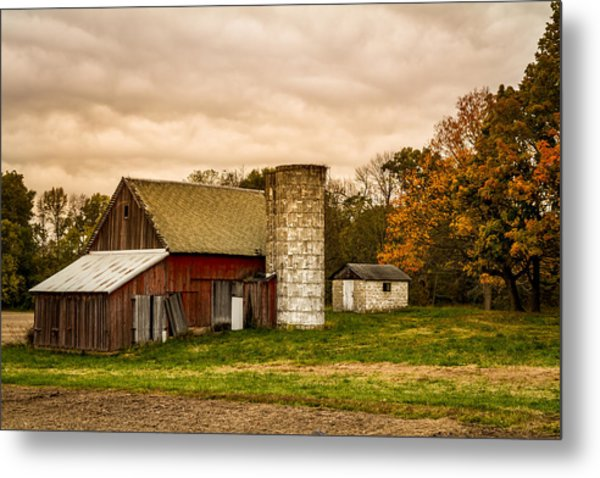 Old Red Barn And Silo Metal Print
