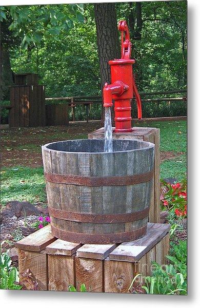 Old Red Water Pump Metal Print