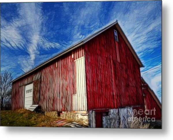 Old Red Wooden Barn Metal Print