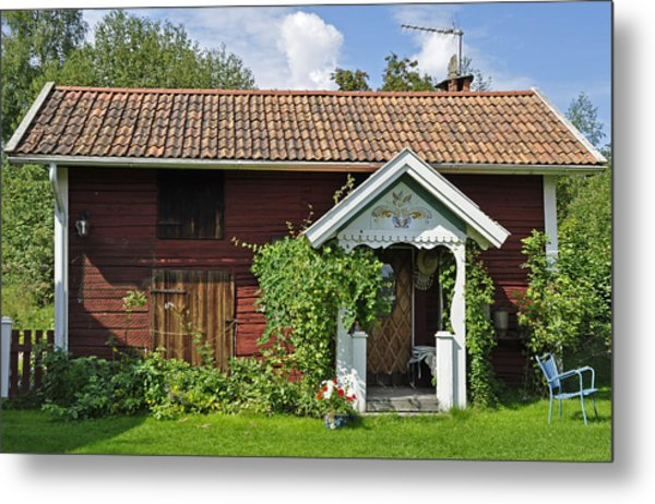 Old Red Wooden Hut Metal Print by Conny Sjostrom