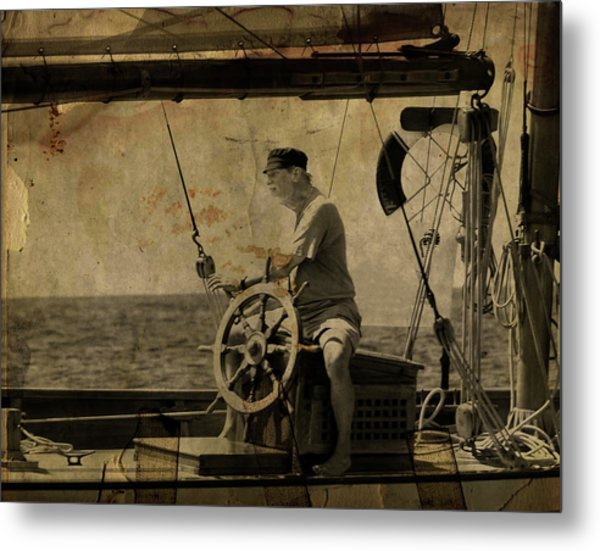 old sailor A vintage processed photo of a sailor sitted behind the rudder in Mediterranean sailing Metal Print