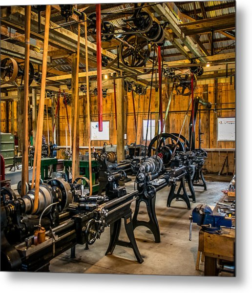 Old School Machine Shop Metal Print