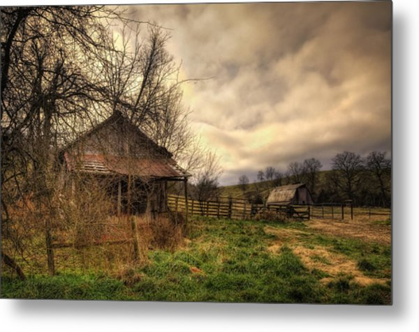 Old Shed And Barn At Osage Metal Print