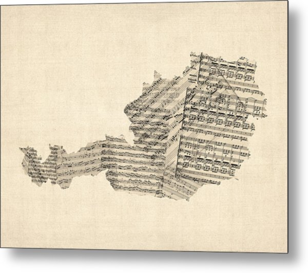 Old Sheet Music Map Of Austria Map Metal Print by Michael Tompsett