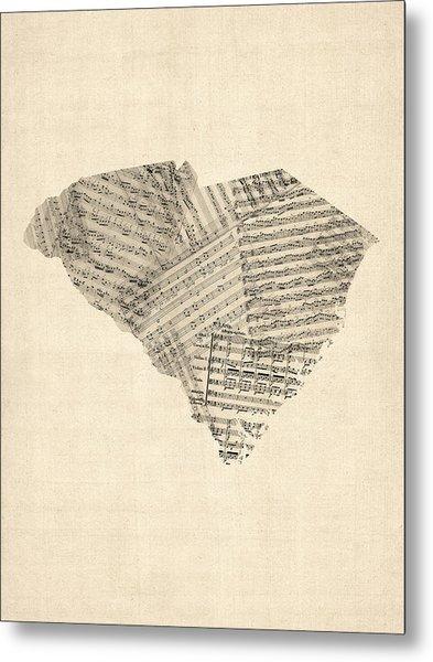 Old Sheet Music Map Of South Carolina Metal Print