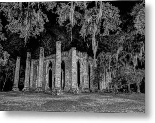 Old Sheldon Church At Night Metal Print