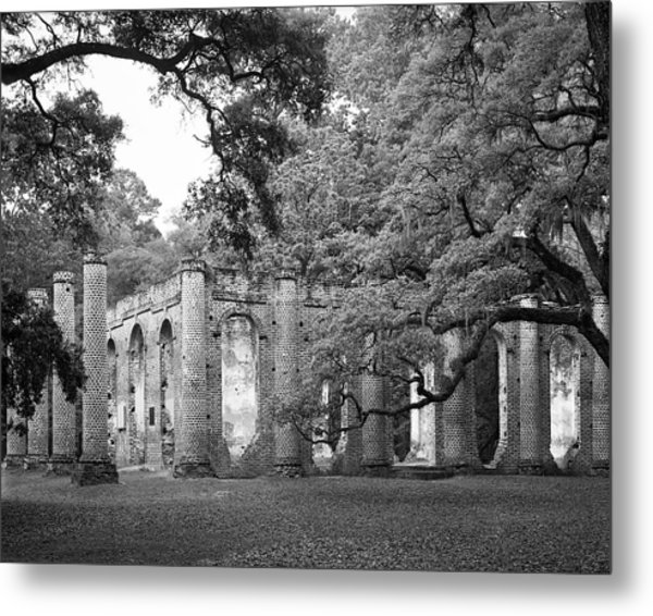 Old Sheldon Church - Black And White Metal Print