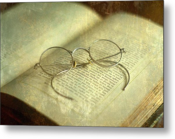 Old Silver Spectacles And Book Metal Print