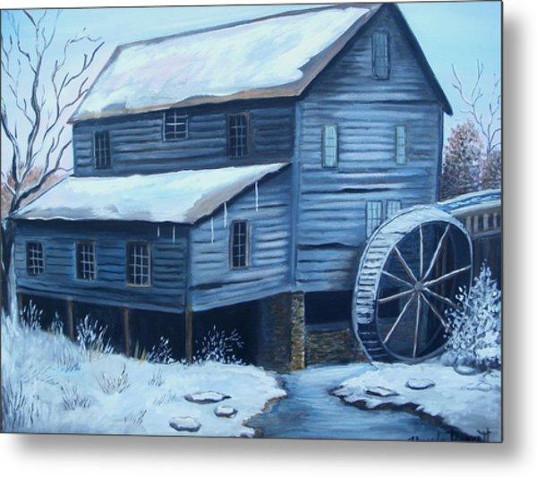 Old Snow Covered Mill Metal Print by Glenda Barrett