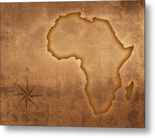 Old Style Africa Map Metal Print