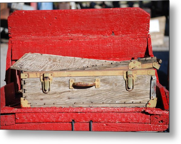 Old Suitcase Metal Print by Pamela Schreckengost
