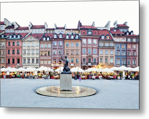 Old Town Market Place At Dusk Metal Print by Jorg Greuel