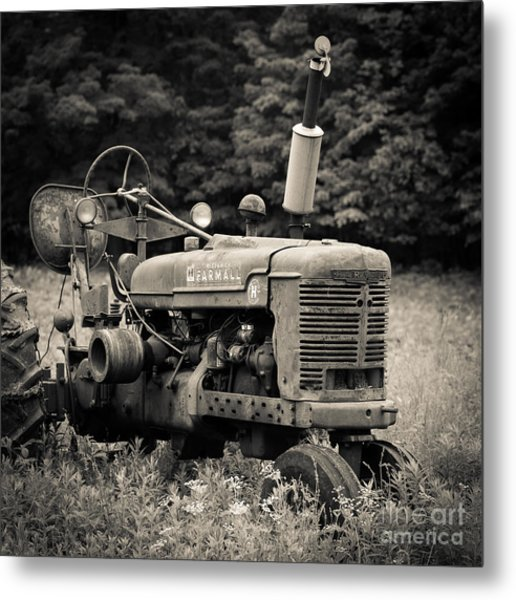 Metal Print featuring the photograph Old Tractor Black And White Square by Edward Fielding