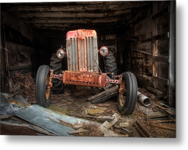 Metal Print featuring the photograph Old Tractor Face by Gary Heller