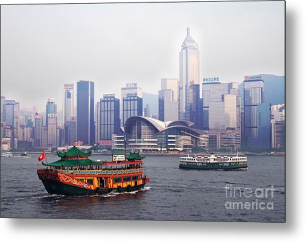 Old Traditional Chinese Junk In Front Of Hong Kong Skyline Metal Print by Lars Ruecker