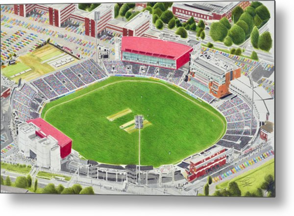 Old Trafford Cricket Stadia Art - Lancashire County Cricket Club Metal Print
