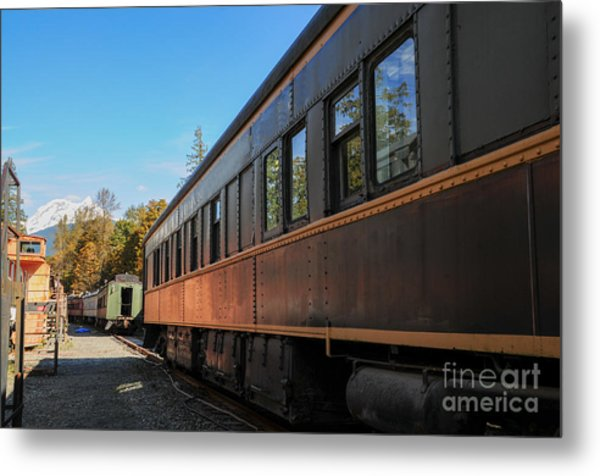 Old Train Coach Metal Print by Malu Couttolenc