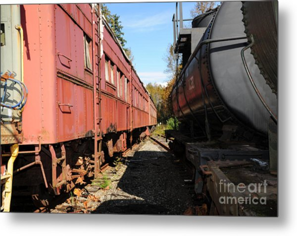 Old Train Wagons At Ease Metal Print by Malu Couttolenc