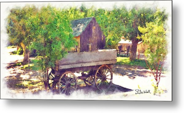 Old Wagon At Wheeler Farm Metal Print