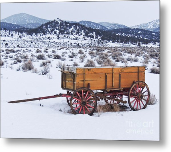 Old Wagon In Snow Metal Print