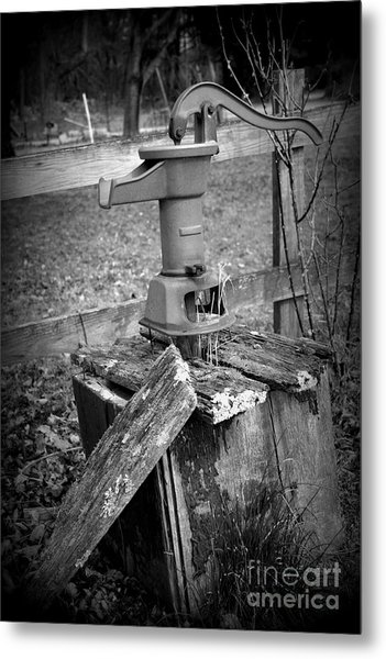 Old Water Pump Bw Metal Print