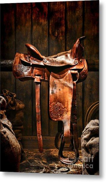 Old Western Saddle Metal Print