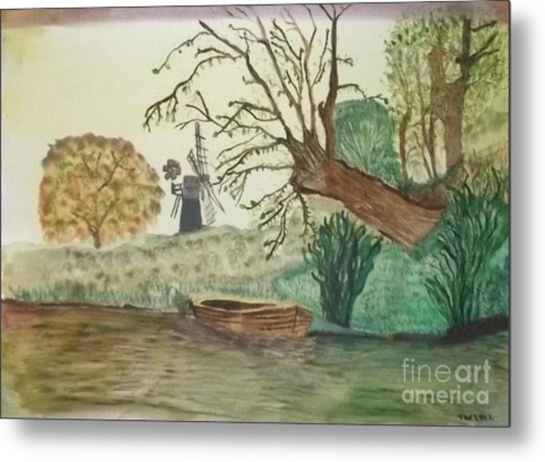 Old Willow And Boat Metal Print