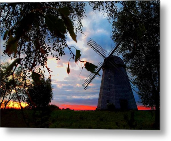 Old Windmill In The Evening Metal Print by Juozas Mazonas