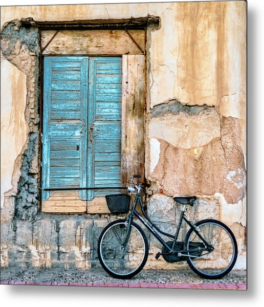 Old Window And Bicycle Metal Print