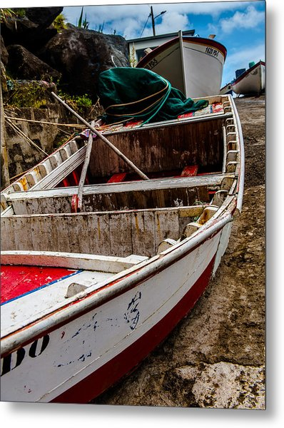 Old Wooden Fishing Boat On Dock  Metal Print