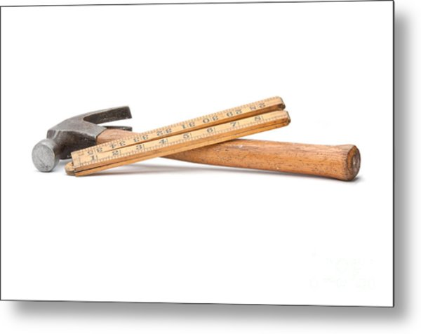Old Wooden Rule And Hammer. Metal Print by Stephen Baker