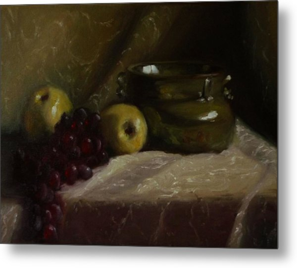 Olive Pottery Metal Print