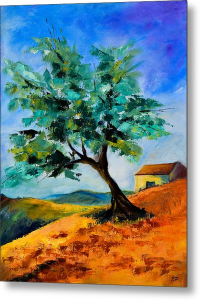 Olive Tree On The Hill Metal Print