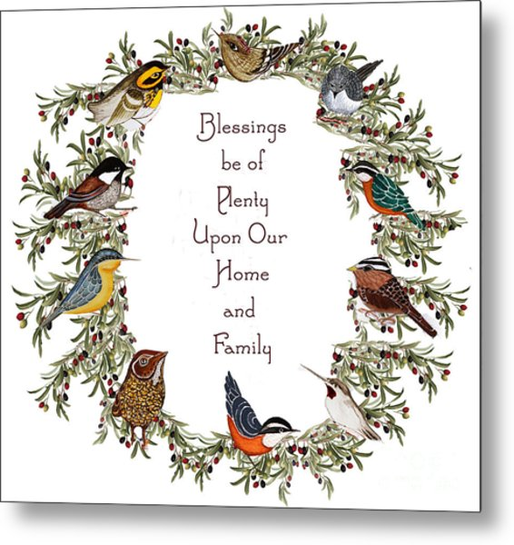 Olive Wreath Of Little Birds Blessings Metal Print