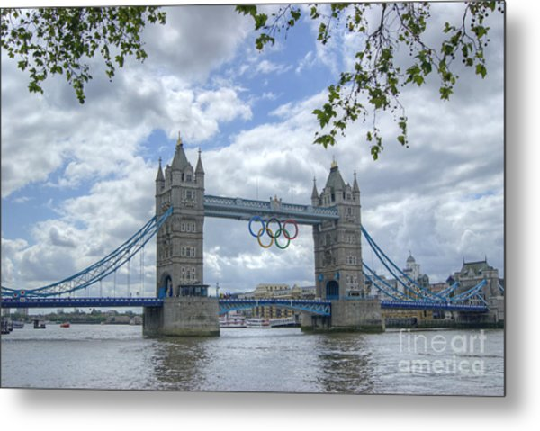Olympic Rings On Tower Bridge Metal Print