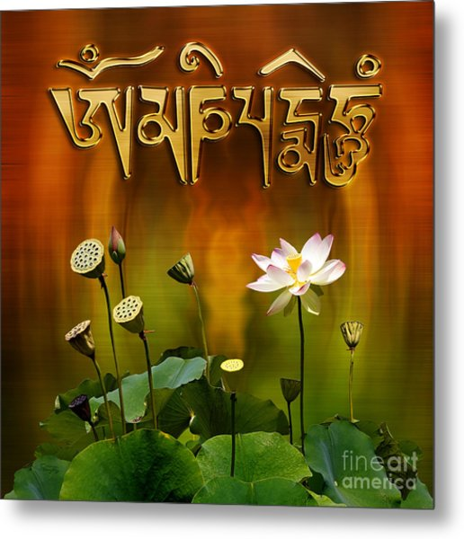 Om Mani Padme Hum Mantra With White Lotus Metal Print